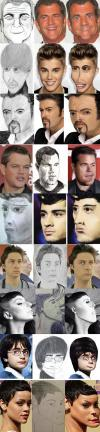 there is art and then there is this, celebrity faces warped to look like fan art