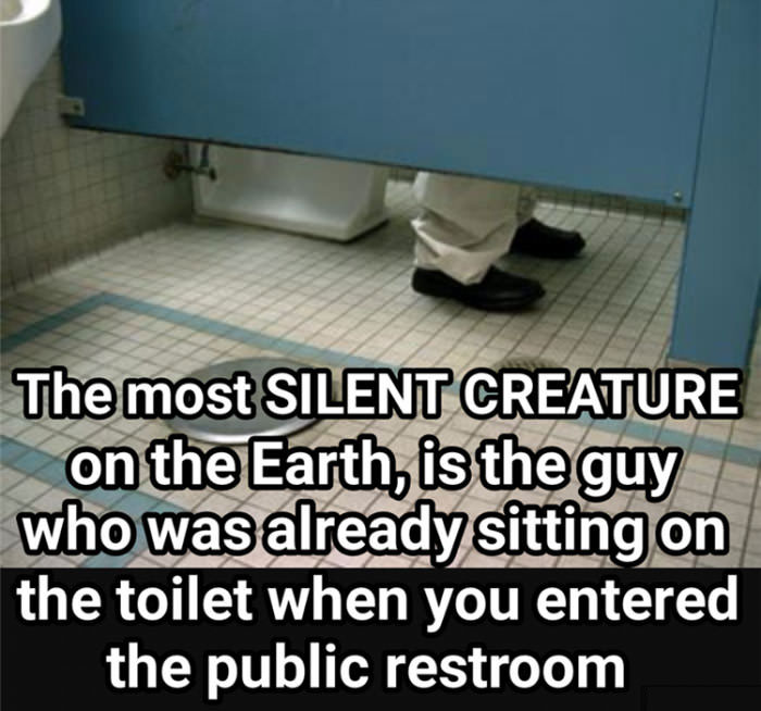 the most silent creature on the earth is the guy who was already sitting on the toilet when you entered the public restroom