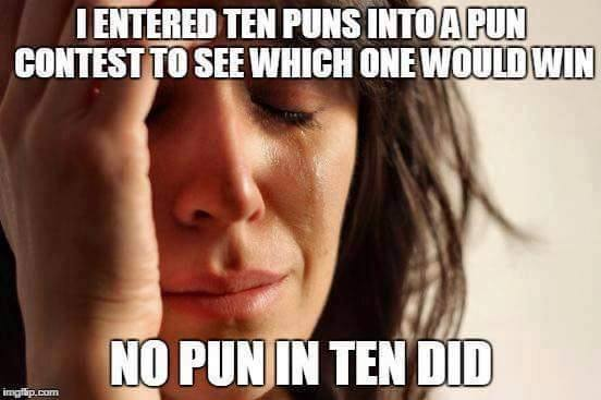 i entered ten puns into a pun contest to see which one would win, no pun in ten did, first world problems, meme