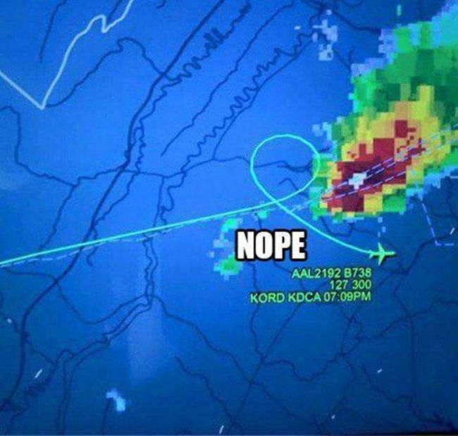 this plane's course correction described with nope, storm front avoidance