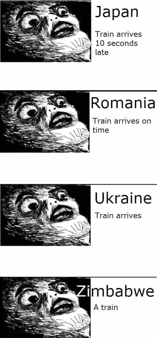 freaking out about trains around the world