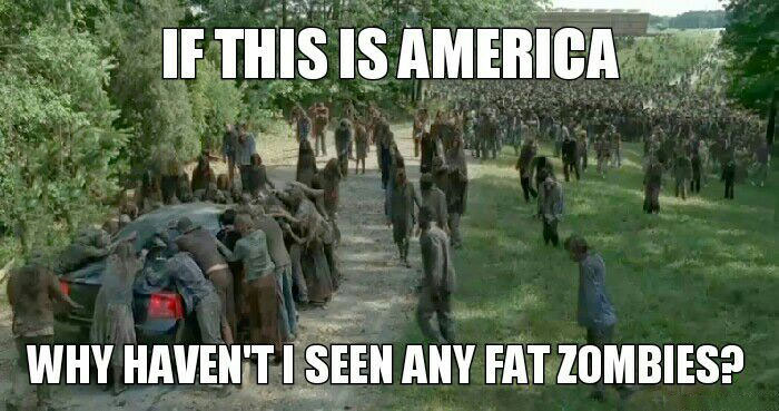 if this is america, why haven't i seen any fat zombies?, the walking dead, meme