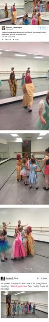 it was princess day at dance and one little girl came as a hot dog, i have never admired someone more
