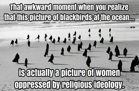 that awkward moment when you realize that this picture of blackbirds at the ocean is actually a picture of women oppressed by religions ideology