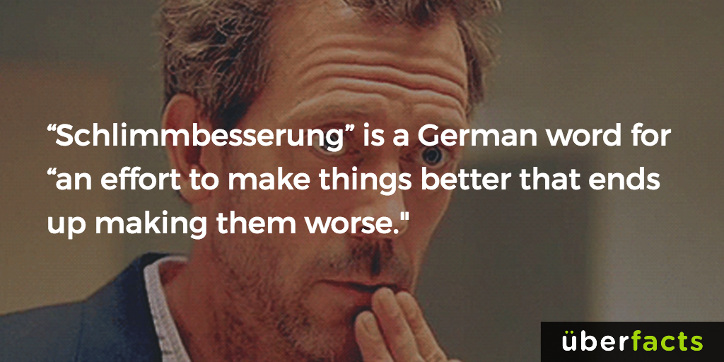 schlimmbesserung is a german word for an effort to make things better that ends up making them worse