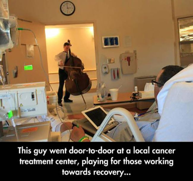 this guy went door to door at a local cancer treatment center playing for those working towards recovery, photos to make you smile