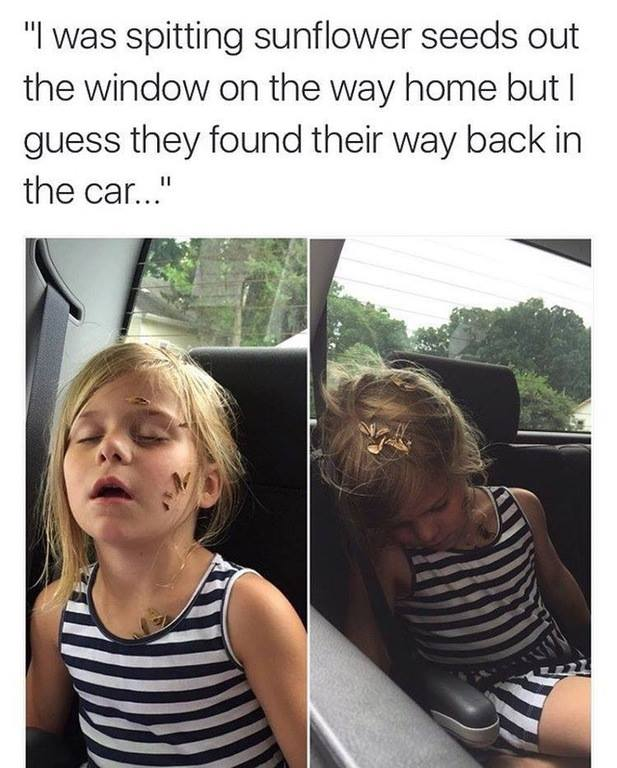 i was spitting sunflower seeds out the window on the way home but i guess they found their way back in the car, sunflower seeds on little girls face and hair