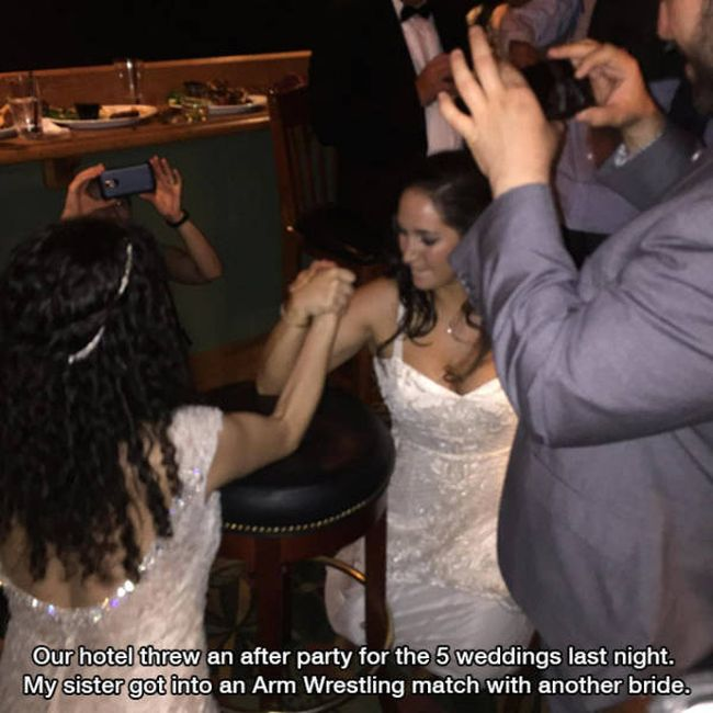 our hotel threw an after party for the 5 weddings last night, my sister got into an arm wrestling match with another bride