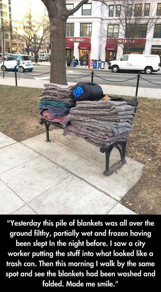 yesterday this pile of blankets was all over the ground filthy, partially wet and frozen having been slept in the night before, i saw a city worker putting the stuff into a trash can, photos that will make you smile