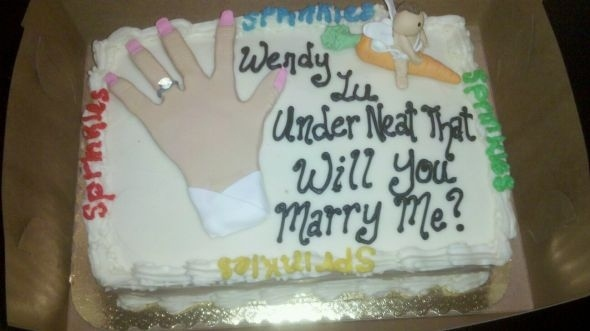 wendy lu, under neat that will you marry me, wedding cake fail, literal
