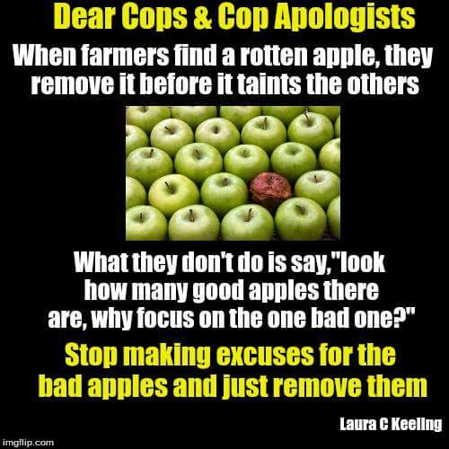 dear cops and cop apologists, when farmers find a rotten apple, they remove it before it taints the others, look how many good apples there are, why focus on one bad one?, stop making excuses for the bad apples and just remove the