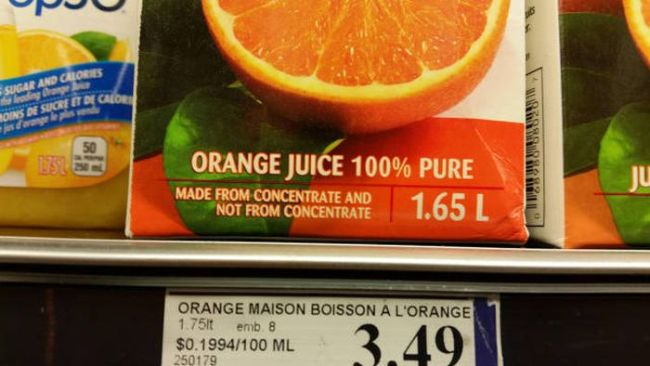 orange juice, made from concentrate and not from concentrate
