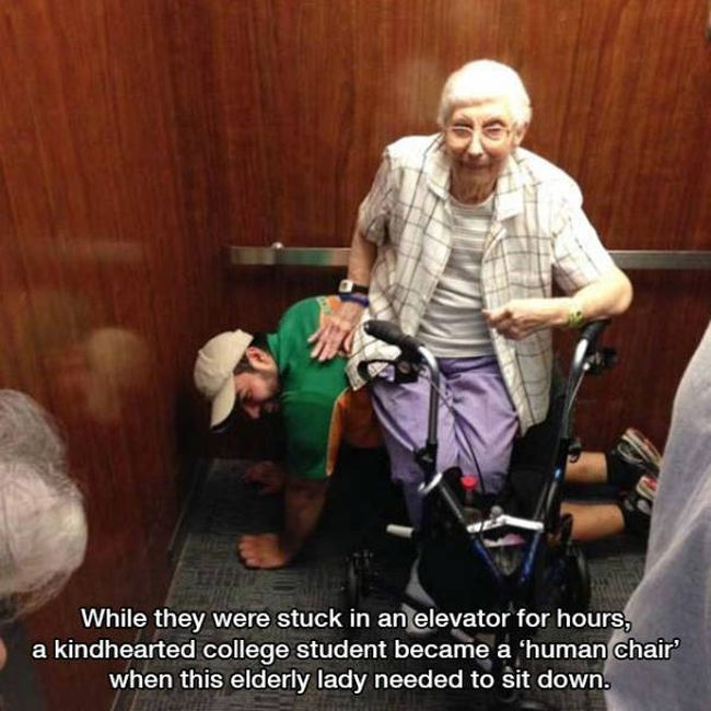 while they were stuck in an elevator for hours, a kindhearted college student became a human chair when this elderly lady needed to sit down, photos to make you smile