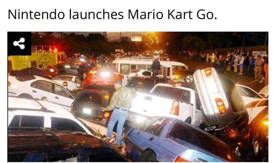 nintendo launches mario kart go, car pile up, accident
