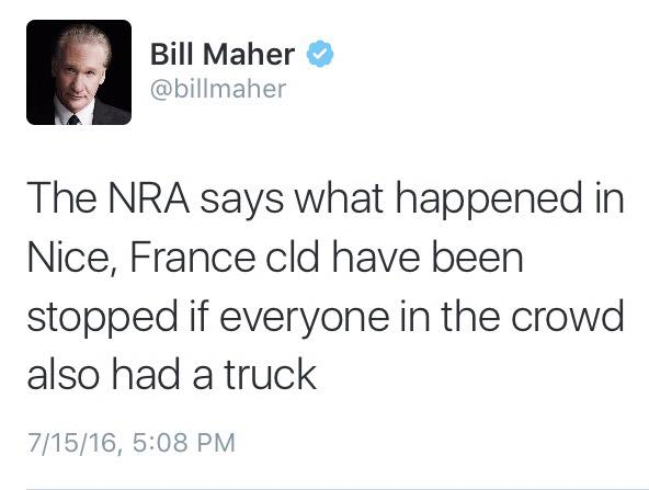 the nra says what happened in nice france could have been stopped if everyone in the crowd also had a truck