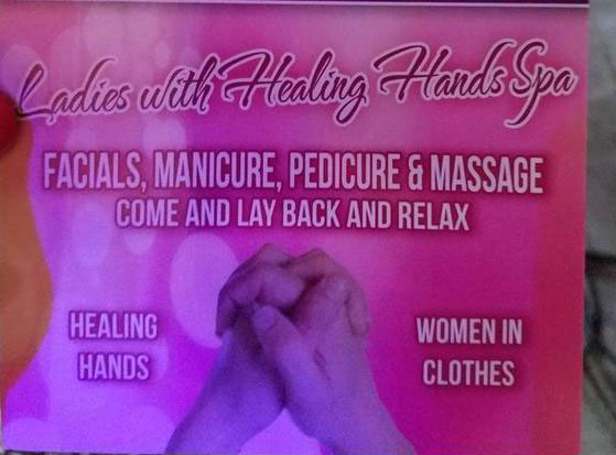ladies with healing hands spa, facials, manicure, pedicure & massage, women in clothes, awkward names