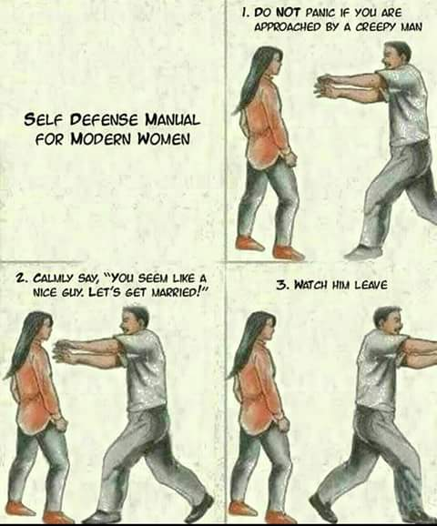 self defence manual for modern women, do no panic if you are approached by a creepy man, calmly say, you seem like a nice guy let's get married, watch him leave