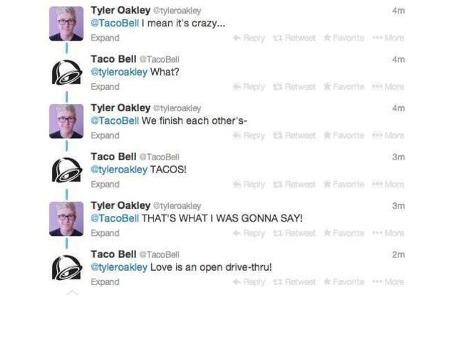 tacobell is alive and well on twitter, we finish each other's tacos