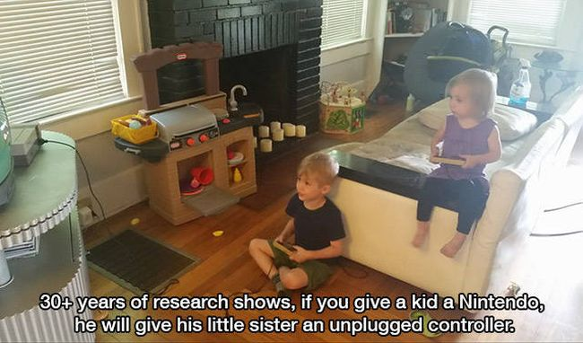 little girl kiss reaction, 30+ years of research shows, if you give a kid a nintendo, he will give his little sister an unplugged controller