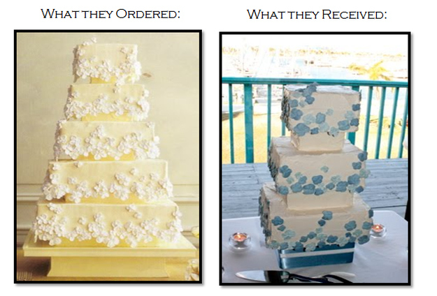 what they ordered, what they received, wedding cake fail