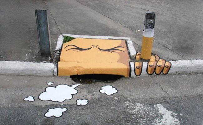sewer smoker street art