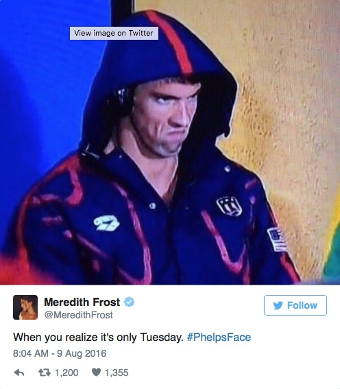 when you realize it's only tuesday, michael phelps game face