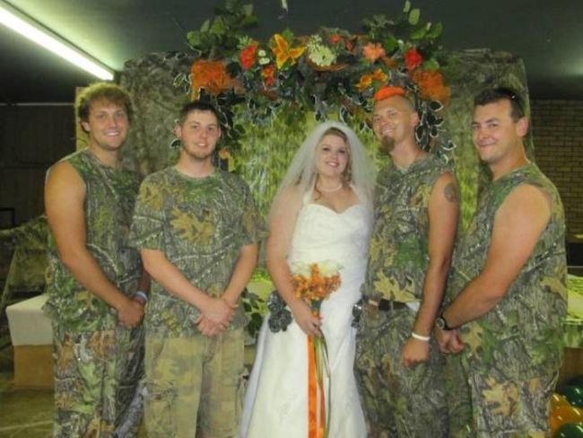 nothing says class more than camouflage tank tops, wtf wedding