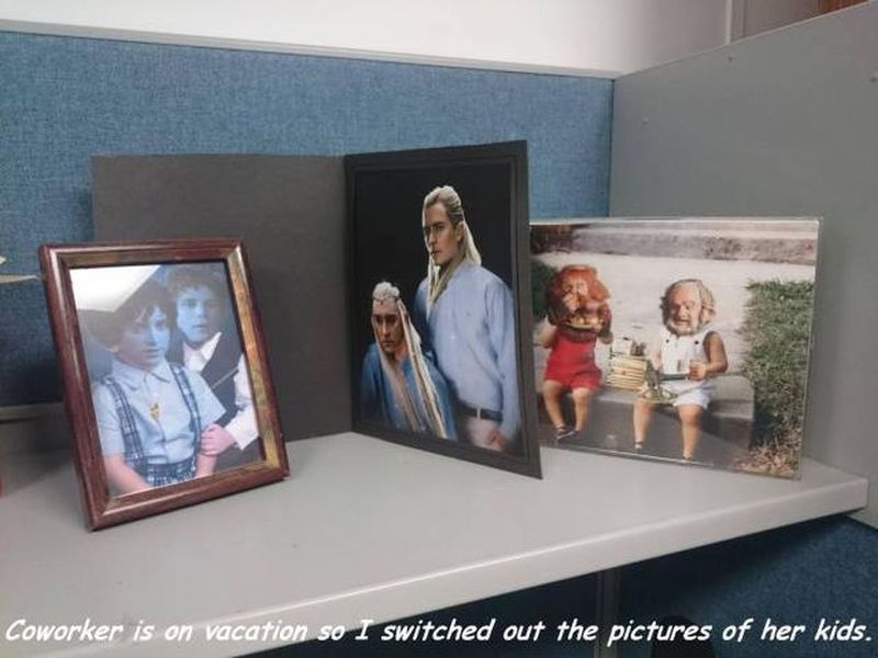 coworker is on vacation s i switched out the pictures of her kids, troll
