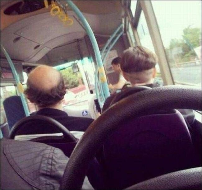 these two guys have complimentary hair, glitch in the matrix