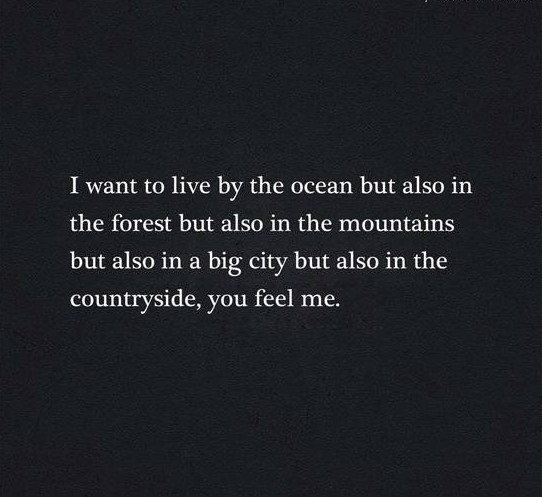 i want to live by the ocean but also in the forest but also in the mountains but also in the city but also in the countryside, you feel me