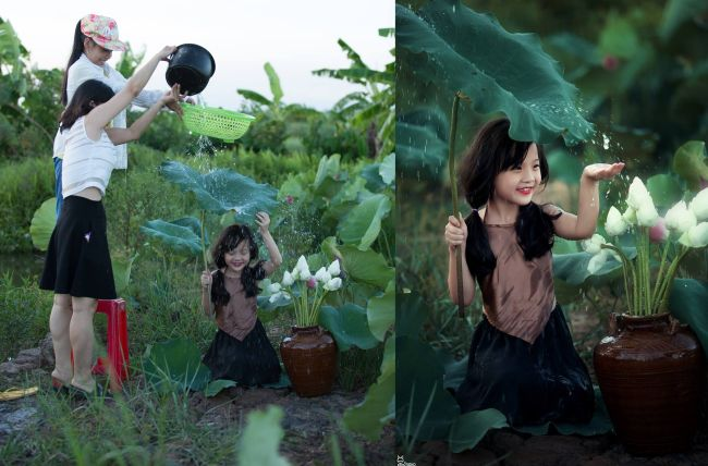 how magical photos are made, little girl collecting rainwater from leaf