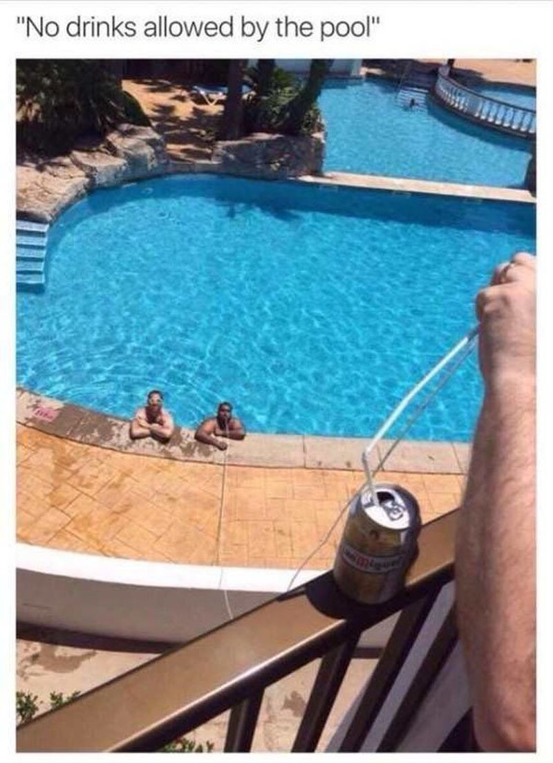 no drinks allowed in the pool, rebel