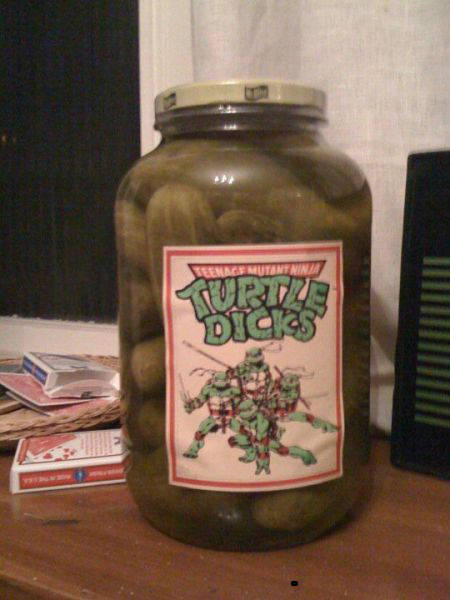 teenage mutant ninja turtle dicks, jar of pickles, wtf