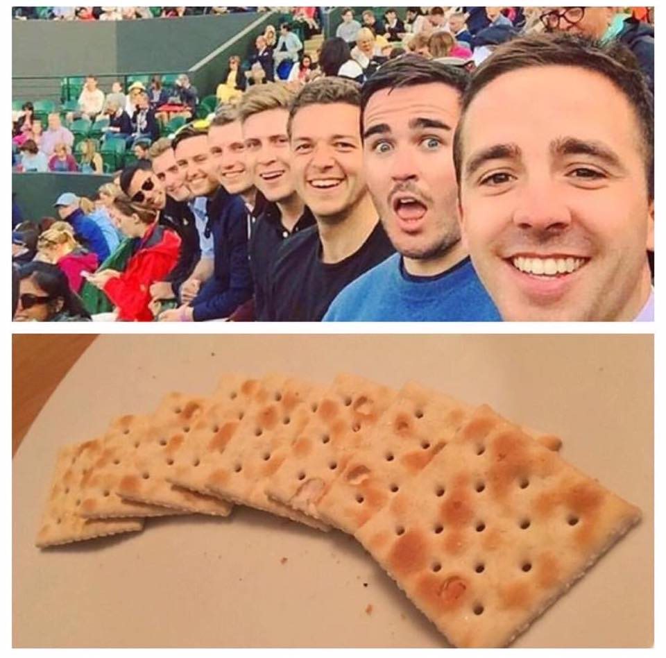 can you spot the difference between these two rows of crackers