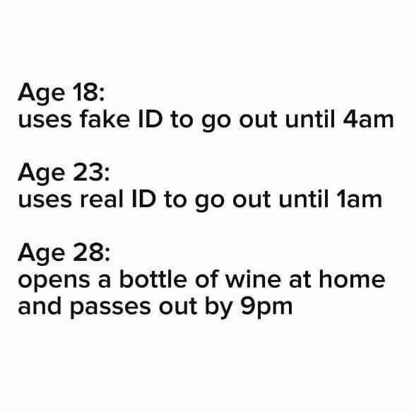 age 18, uses fake id to go out until 4am, age 23, uses real id to go out until 1am, age 28, opens a bottle of wine at home and passes out by 9pm