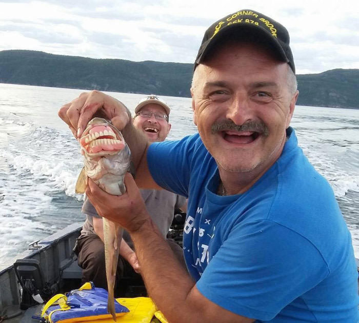 fishing in quebec, fish wearing dentures