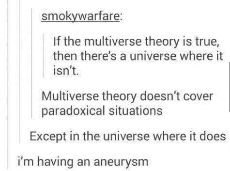 if the multiverse theory is true, then there's a multiverse where it isn't, multiverse theory doesn't cover paradoxical situations, expect in the universe where it does, i'm having an aneurysm