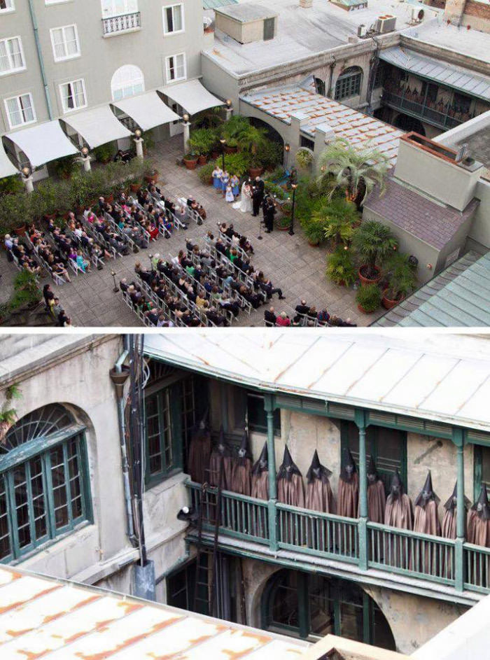photographer takes wedding photo and only after developing the photos noticed the creepy people on the balcony top right