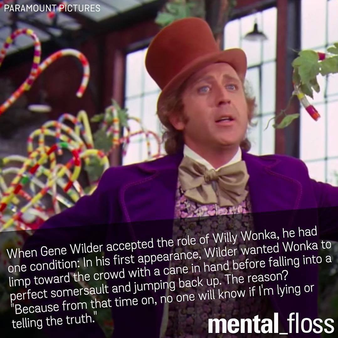 when gene wilder accepted the role of willy wonka, he had one condition, in his first appearance wilder wanted wonka to limp toward the crowd with a cane in hand before falling into a perfect somersault and jumping back up