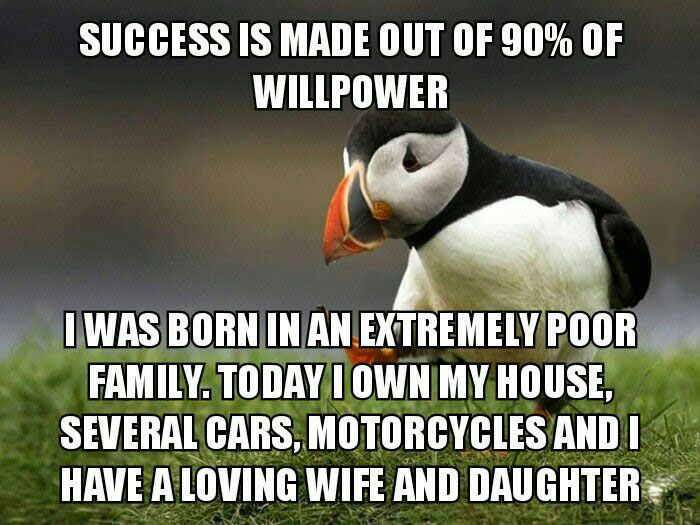 success is made out of 90% willpower, i was born in an extremely poor family and made it, unpopular opinion puffin, meme