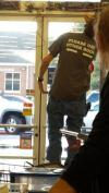 please use other door t-shirt on door repair man