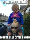 si elle veut un bebe, montre lui cette photo, baby on shoulders throws up on head, meme, ewww