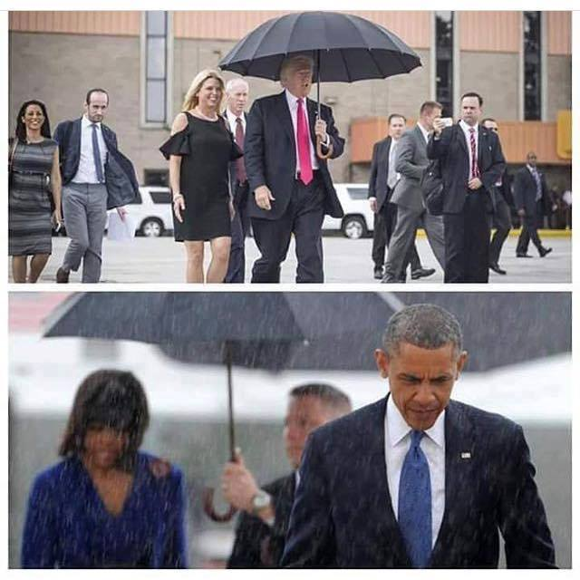 donald trump can learn a lot about class from barack obama, who is under the umbrella
