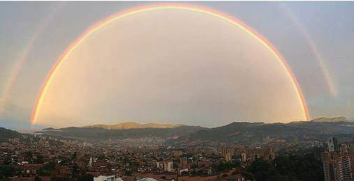 just two half double rainbows over my city, nature is beautiful