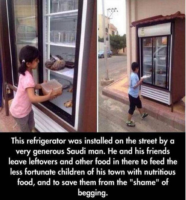 this refrigerator was installed on the street by a very generous saudi man, he and his friends leave leftovers and other food in there to feed the less fortunate children of his town with nutritious food, and to save them