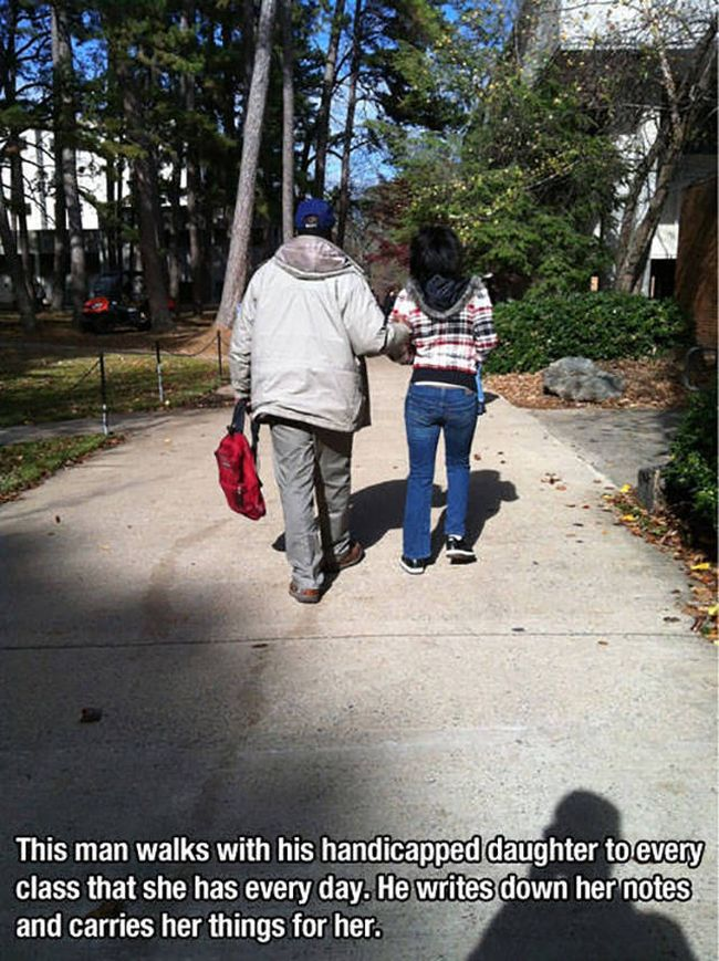 this man walks with his handicapped daughter to every class that she has every day, he writes down her notes and carries her things for her