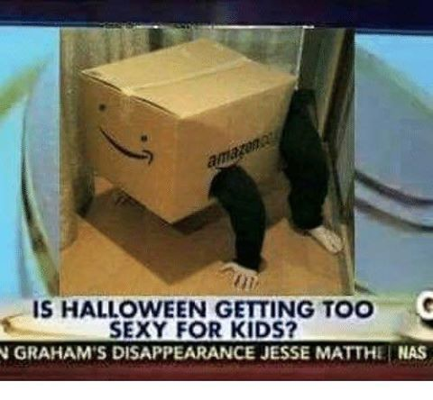 is halloween getting too sexy for kids, amazon box costume, wtf
