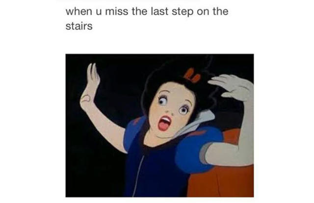 when you miss the last step on the stairs