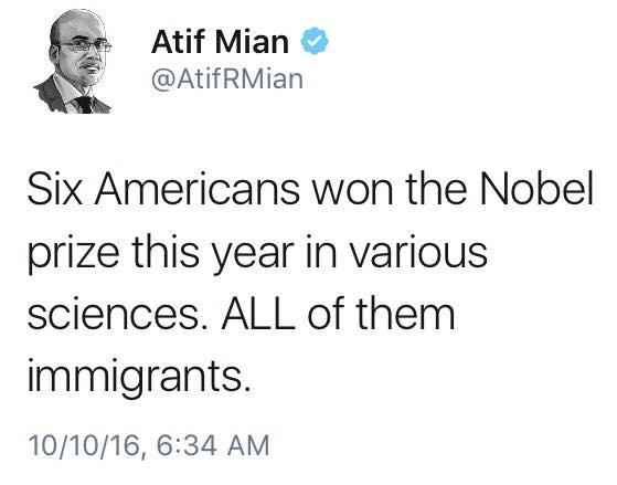 six americans won the nobel prize this year in various sciences, all of them immigrants