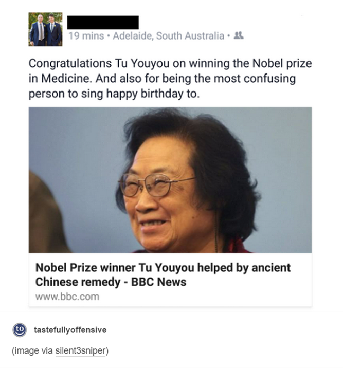 congratulations tu youyou on winning the nobel prize in medicine, and also for being the most confusing person to sing happy birthday to